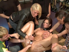 Busty Milf group disgraced in public