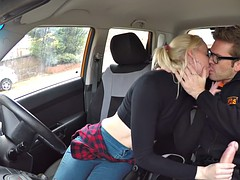 After driving class blonde fucks in car