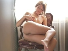 Lovely babe Alexis Brill masturbates in the bathroom