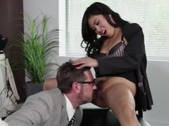 Exquisite Asian secretary will gladly fool around with her boss