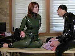 green catsuit restrain bondage bang-out