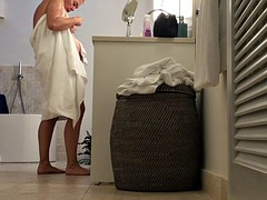 unaware naked mom caught on spycam in hotel bathroom