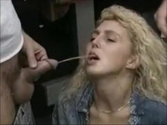 Suzette Dale: blonde in mouthful pissing fetish outdoors