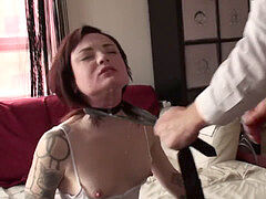 Teen sub mouth porked and coochie finger-tickled