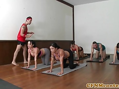 CFNM yoga babes cumswapping in group