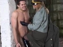 Russian police woman ballbusting and humiliating sub outdoors