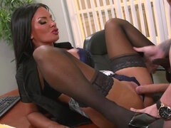 Dark haired porn babe Elicia Solis gets rammed by her co-worker