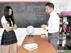 Big-boobed brunette Eliza Ibarra opens her little hole for a teacher