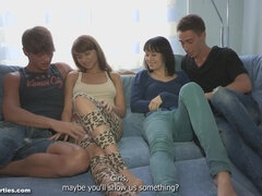 Two Russian couples make out in foursome