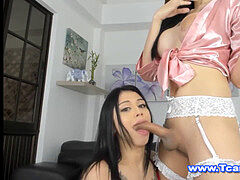 asian shemale in handsome lingerie gets passionate head