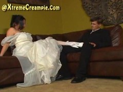 Internal cumshot eating cuckold threesome on wedding night