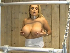Busty blonde gets her nipples played hard with tit pump toy