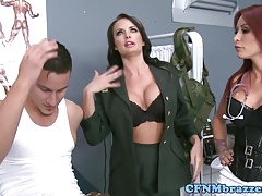 Dominating army mistresses in threeway fuck