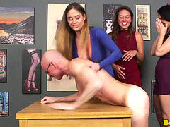 three femdoms hand job