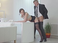 Secretary bent over the desk and additionally fucked