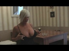 Aroused Soccer mom flashes her breasts & cum bucket while smoking