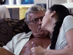 Enticing brunette cheats on nerd BF with his old stepfather