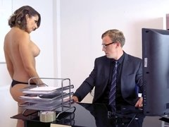 Cara Saint-Germain giving some head on and getting fucked in the office