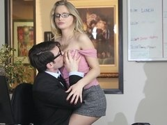 Staci Carr sucked off her coworker then got fucked on the office desk