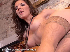 Russian brunette Henessy extremely magnificent soles have fun in stockings