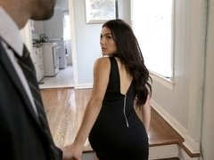 Alex Legend and Valentina Nappi are dressed in their evening best as they lock lips in the hallway