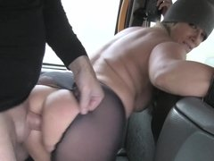 Sasha Steele gets eaten fingered & fucked through ripped pantyhose in a cab
