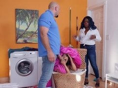 Bald stepdad can't overcome basic instinct and fucks Latina babe