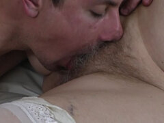 Hairy granny fucking and sucking