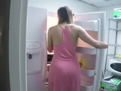 Blonde is sucking dick in the kitchen