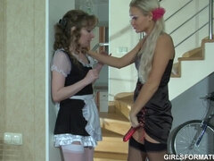Poor MILF Maidservant Gets Fucked By Naughty Rich Lesbian Girl