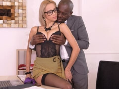 Sexy as fuck blonde Veronica Leal rides a big black cock in the cowgirl pose