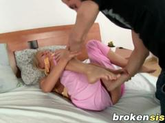 Stud creeps in his stepsis room and rips her clothes off