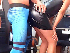 couple in office spandex