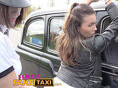 Female Fake Taxi Naughty hot cabbie makes lezzie crazy cop spunk