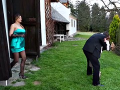 Euro piss lovers doggystyled outdoors in trio