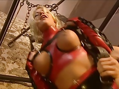 fetish blond girl in latex