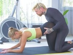 Ivana Sugar gets a dick balls deep into her holes on the gym floor