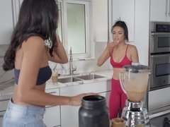 Two sexy chicks talk about fitness but soon perform scissoring