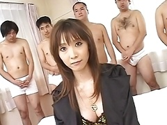Oriental fucked while lads cum on her face