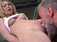Blonde hbabe with perky tits gets banged by old man