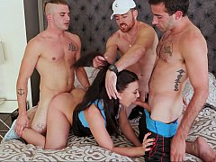 Cheerleader girl and three horny guys