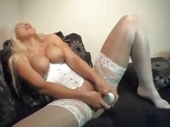 Another blonde in lingerie making love her shoes deeply