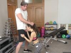 Fitness Rooms Fit sporty Russian flirting in gym loves thick purple pole