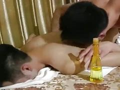 Stressed out babe is massaged all over