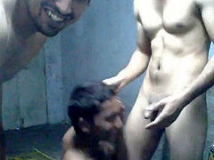 Indian twink fellating 2 Indian hairy men