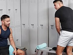 MenOver30 - Hairy Latino Gym Buddies Blow In The Locker Room