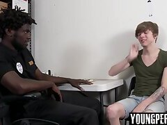 Straight teen anal fucked first time by black Officer