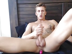 Horny Blonde Monster Enjoys Anal Vibrator While Jerks Off