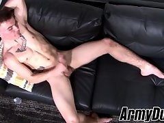 Naughty soldier Kyler Build wagging big cock and teasing