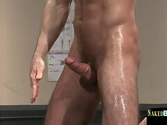 Muscular stud cums after wrestling